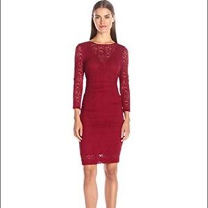 NWT Nicole Miller Swirly Roses Lace Illusion Dress